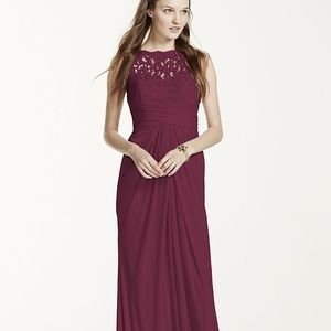David's Bridal Long Mesh Dress with Corded Lace